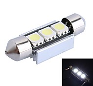 GC® 36mm 1W 3x5050 SMD 50LM 6000K White LED for Car Reading / License Plate / Door Lamp (DC 12V)