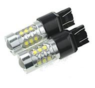 2 х T20 7443 W21 21W w3x16q 80w 16xcree холодный белый 4500lm 6500K для автомобиля стоп-сигнала (AC / DC12V-24)