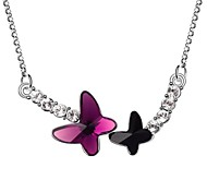 Butterfly in Couple Short Necklace Plated With 18K True Platinum Fuchsia Jet Black Austrian Crystal Rhinestone