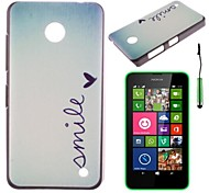 """""""Smile"""" Words And Sweet Herat Pattern PC Hard Back Cover Case with Touch Pen for Nokia Lumia N630"""