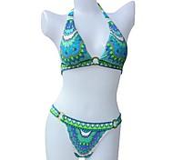 Women's Fashion Sexy Blue Retro Print Push Up Beach wear Bikini Set Swimwear Swimsuit