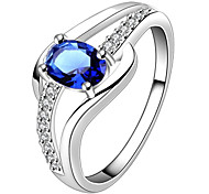 AAA Zircon Inlaid Copper Plating Sapphire 925 Silver Ring