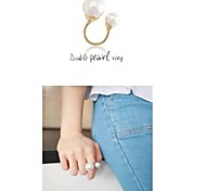Fashion Beauty Double Pearl  Adjustable Opening Joint Ring
