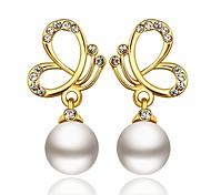 Klassiker Schmetterling und Perlen-Tropfen goldenen vergoldeten Ohrringe (goldenen) (1 Paar)