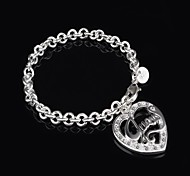 Women's Fashion Diamante Heart Silver Plated Charm Bracelet
