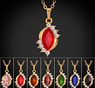 U7® New Trendy 18K Gold Plated Rhinestone CZ Diamond Necklace Pendant Luxurious Fashion Jewelry