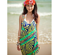 Women's Fashion Green Zebra Chiffon Deep-v Swimwear Swimsuit Beach dress Bikini Cover-up