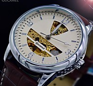 Men's Mechanical Autmatic Watch Fashion Dress Sports Watches Brown Leather Strap