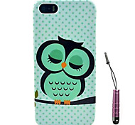 Cute Blue Owl Pattern Hard Case & Touch Pen for iPhone 4/4S