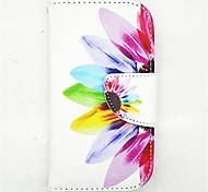 Sunflower Pattern PU Leather Full Body Case with Card Slot and Stand for S3 Mini I8190N