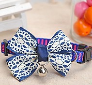 Adjustable Meshbelt Lace Pattern Bowknot and Bell Decorated Collar for Pet Dogs