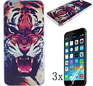 The Fierce Tiger Pattern Hard Case with High Cleaning Cloth To Remove The Screen Protector for iPhone 6 [3 Pack]