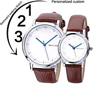 Personalized  Valentine's Day Gifts DIY Korea-style PU Leather Strap Go Backwards Quartz Couple Watch LIWUYOU