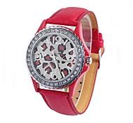 Frauenledergürtel Leopard Diamant Rundriemen chinese Werk Uhr (farbig sortiert)