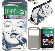 Monroe Pattern PU Leather Full Body Case And dustproof plug for HTC One(M8)