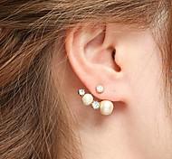 Mode Perle und Edelstein-Goldlegierung Ohrstecker (1 Paar)