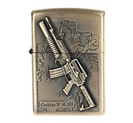 6103-1 Antique Gun Pattern Copper Zinc Alloy Oil Lighter (Bronze)