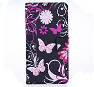 Pink Butterly Pattern PU Leather Case with Stand and Card Slot for Huawei Ascend G620S