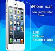 2.5d de haute qualité bord rond 0,26 mm antidéflagrants trempé film protecteur d'écran en verre pour iPhone 4 / 4S
