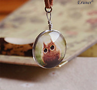 Eruner® Barred Owl Necklace, Owl Pendant Glass Dome Animal Image Picture Necklace P