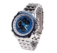 sanda 269 + quartzo relógio de pulso digital de dupla circulação dos homens (azul)