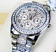 acier cadran de diamant rond de montre de mode bande de quartz des femmes