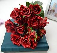 """moderni rosso scuro tocco reale 12 teste rosa bouquet 6,30 """"per la cerimonia nuziale e la decorazione del partito"""