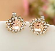 leuchtenden Diamanten goldenen Sonnenblumen Ohrringe