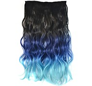 18 Inch Women Clip Body Wavy Black Blue Gradient Hairpieces Synthetic Extensions