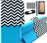 COCO FUN® Black White Wave Pattern PU Leather Full Body Case with Film and USB Cable and Stylus for Motorala Moto G