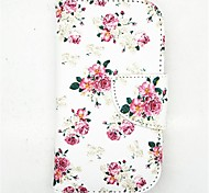 Flower Pattern PU Leather Full Body Case with Card Slot and Stand for S3 Mini I8190N