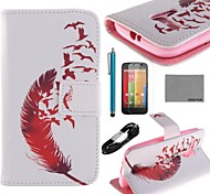 COCO FUN® Red Leather Pattern PU Leather Full Body Case with Film USB Cable and Stylus for Motorala Moto G