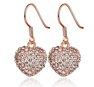 Classics Crystal Heart-Drop Rose Gold Rose Gold-Plated Drop Earrings(Rose Gold)(1Pair)