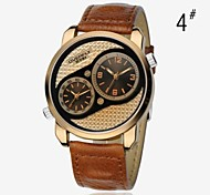 EYKI® Men's Watch Fashion Watch Dual Time Leather band  Quartz Wrist Watch (Assorted Colors)
