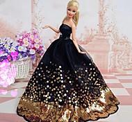 barbie clásico vestido de noche negro con abalorios de oro
