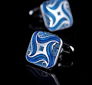 Toonykelly Fashion Men's Silver Blue Enamel Copper Cufflink(Silver)(1 Pair)