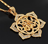 u7® allah colar de pingente de ouro 18k verdadeiro banhado oco flores pingente de colar de jóias de moda