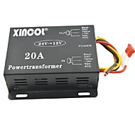 Xincol® Vehicle Car DC 24V to 12V 20A Power Supply Transformer Converter-Black