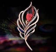 Fashionable Elegant Feather Crystal Brooch