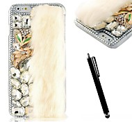 KARZEA™ Handmade 3D Crystal Diamond Fox and Luxury Faux Fur Rhinestone Clear Case with Stylus for iPhone 6