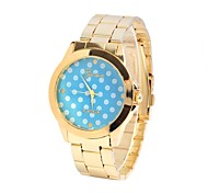 Unisex Watch Dot Point of Wave Pattern Round Steel Table Chinese Movement Watch(Assorted Colors)