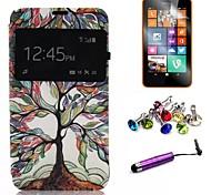 multicolour estojo de couro pu padrão de árvore com filme e caneta e ficha de poeira para nokia lumia 630/635