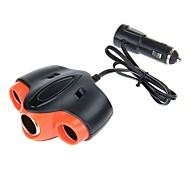 WF-055 70W 12V-24V 1A 1-to-3 Car Cigarette Lighter Socket Power Adapter with 1 USB Output (Black)