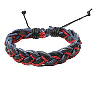 Adjustable Men's Leather Soft Bracelet Dark Red And Blue Braided Leather(1 Piece)