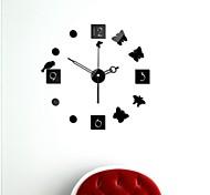 "21""H Modern Style DIY 3D Mirror Acrylic Surface Black Sticker Wall Clocks For Bedroom Livingroom"