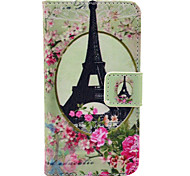 Tower and Fowers Pattern PU Leather Full Body Case for iPhone 4/4S