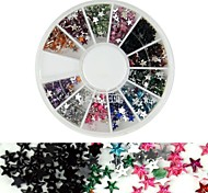 600PCS 12Colours Star Shape Acrylic Rhinestones Wheel Nail Art Decoration
