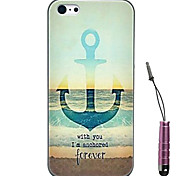 Anchors Pattern Hard Case & Touch Pen for iPhone 4/4S