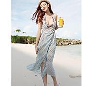Women's Sexy Blue Dot Chiffon Deep-v Backless Swimwear Swimsuit Beach dress Bikini Cover-up