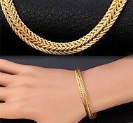 U7®Wheat Chain Bracelet 18K Real Gold Plated Vintage Chunky Bracelet Fashion Jewelry for Women